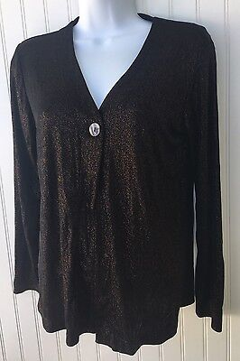 Chicos Womens Size 0 Shimmering Bronze Shimmer Sweater Work Attire Msrp  98 Nwt