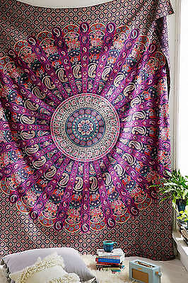 Indian Paisley Mandala Hippie Tapestry Throw Bedspread ...