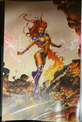 SEXY STARFIRE WITH FIRE HAIR BLOND SIGNED PRINT 11 x 17 #oa-731