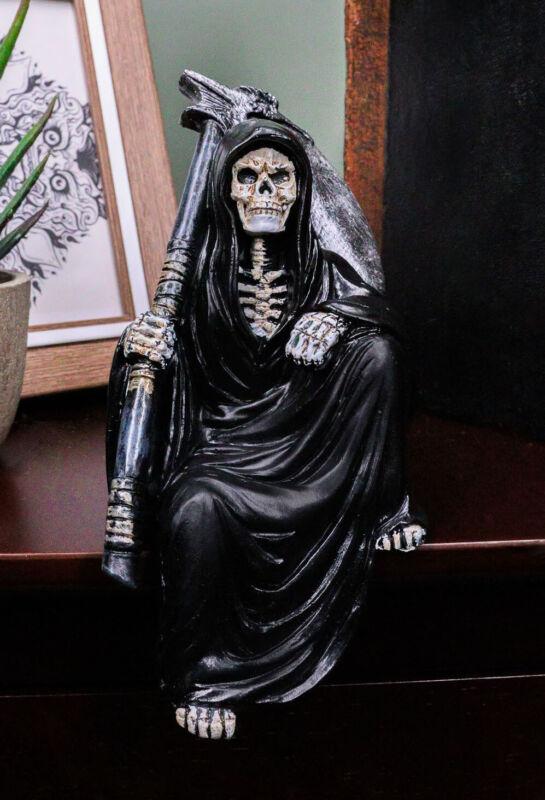 Death On The Shelf Gothic Grim Reaper With Scythe Sitting Shelf Sitter Figurine