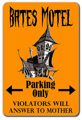 FUNNY HALLOWEEN BATES MOTEL PARKING SIGN METAL SIGN - Halloween Signs Funny