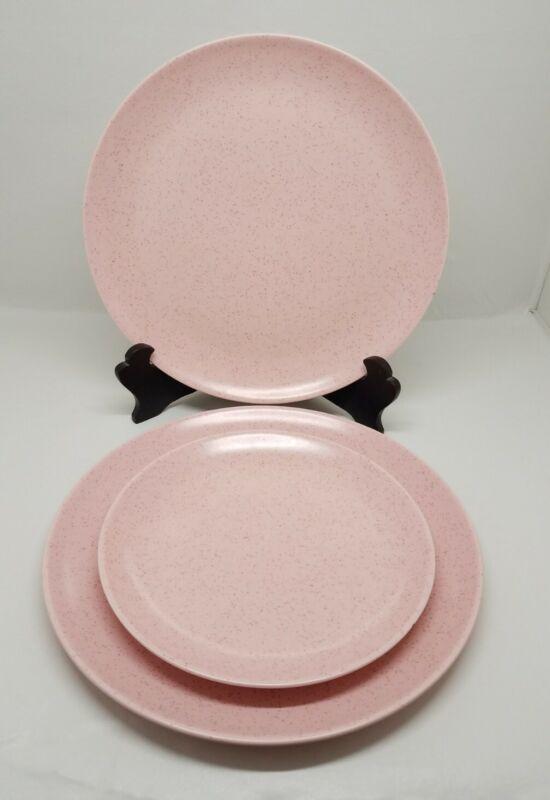 Mid Century Modern Monterey Pottery Speckled Pink Set: 2 Dinner & 1 Salad Plates