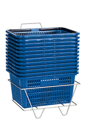 """Set 12 Blue Shopping Baskets With Stand Plastic Retail Merchandise 12"""" x 17"""""""