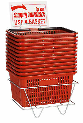 Set Of 12 Red Shopping Baskets With Stand Plastic Retail Merchandise 12 X 17