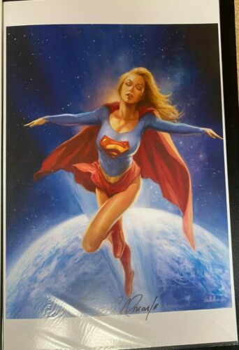 SEXY SUPERGIRL OUTER SPACE SIGNED PRINT 11 x 17 #oa-1105