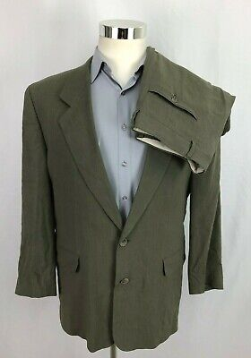 Hugo Boss Mens Delon Revue Suit 40R Jacket 34x30 Pants Gray Linen Blend 2 Button