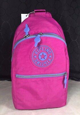New Kipling Bente Very Berry Pink Purple Slingback Gym Backpack Water Resistant