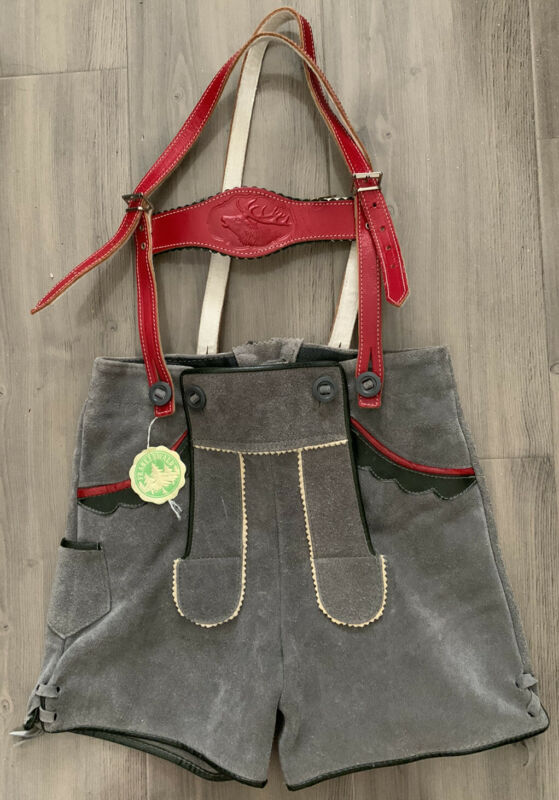 Boy's Authentic Gray Suede German Lederhosen Red Accents Bavarian Oktoberfest s6