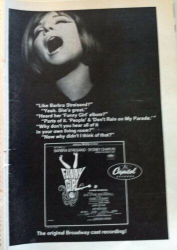 "C7 Barbra Streisand - ""Playbill Do I hear a Waltz""  FUNNY GIRL Broadway Album Ad"