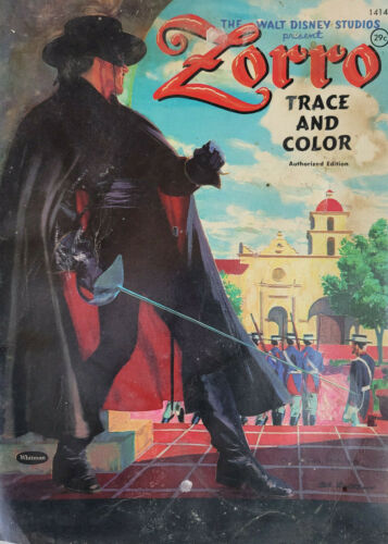 Walt Disney Studio Zorro Trace and Color Vtg 1958 Whitman Coloring Book