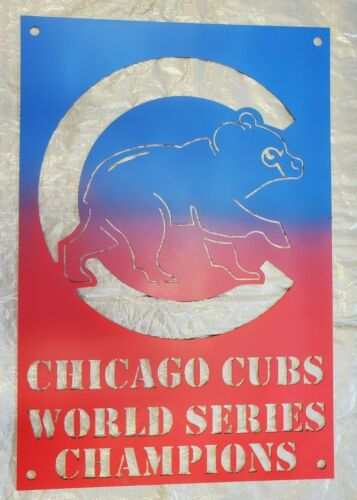 Chicago Cubs Heavy Duty Sign- 11 Gauge Stainless Steel, Plasma Cut - Man Cave