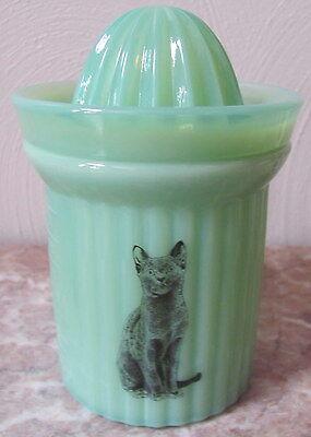 Measuring Cup & Reamer w/ Black Cat - Jade Jadite Jadeite Milk Green Glass