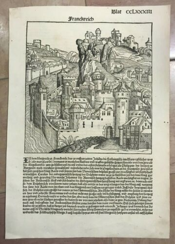 CHRONICLE OF NUREMBERG 1493 HARTMANN SCHEDEL ORIGINAL INCUNABLE FRANCE
