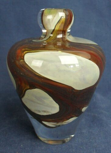 "MDINA ART GLASS Brown & White Vintage Vase 4"" high signed"
