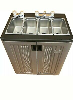 Portable Sink Mobile Concession Compartment Hot  Rm Temp Water - 4 Compartment