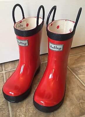NEW Girls Hatley Rain Boots Red Size 7 Toddler