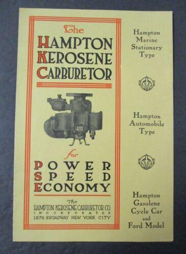The HAMPTON KEROSENE CARBURETOR Advertising Brochure for Marine & Automobile