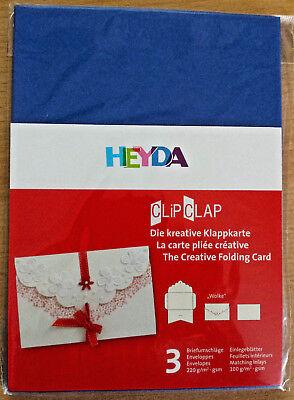 Kreative Clips (Heyda  KREATIVE  KLAPPKARTE  Clip Clap 3 Karten  blau 3 Einlegeblätter    Neu)