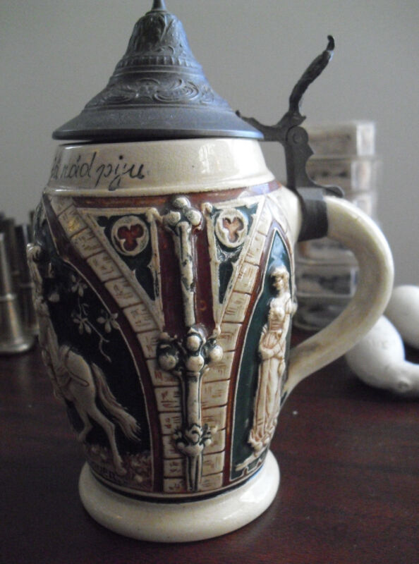 """Vintage Germany  Stoneware Lidded Stein Man on Horse 6"""" Tall"""