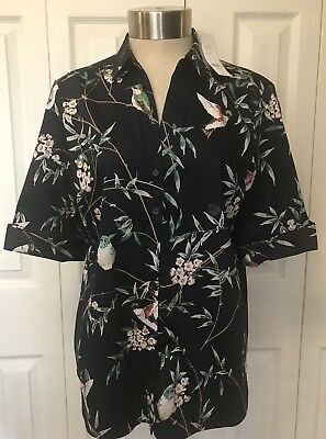 NWT New York & Company Navy Blue Birds Floral Button Front Stretch Shirt Medium