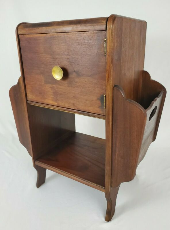 Vintage Walnut Art Deco Nightstand Cabinet End Table With Magazine Rack Antique