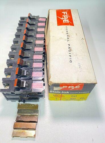 *Box of 10* Federal Pacific NA50 NA150 1P 50A 120/240V Stab-Lok Circuit Breakers