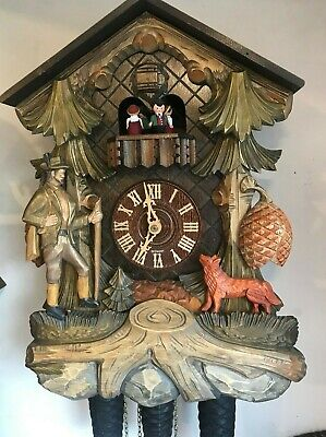 Vintage large Cuckoo Clock 8 Day Musical German Wooden Hand Painted and Carved