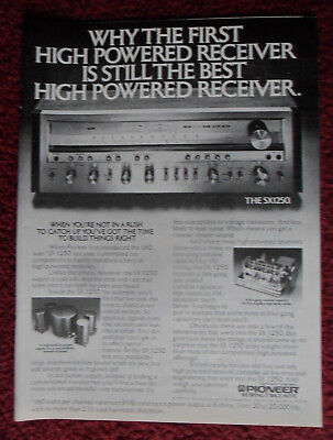 1977 Print Ad Pioneer Electronics SX 1250 Stereo Receiver ~ The First is