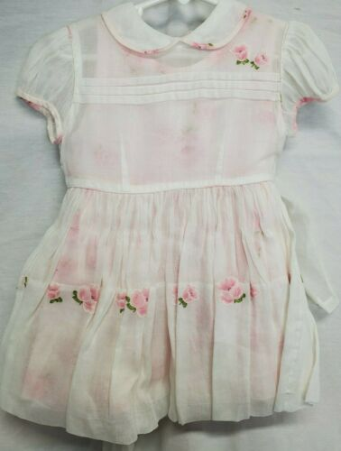 Vtg Girls Dress White Pink Floral Applique Sheer Overlay Short Sleeve Collar