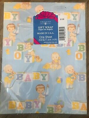 Vintage Flat Wrap Wrapping Paper New In Package Baby Theme Baby Shower - Baby Shower Theme Packages