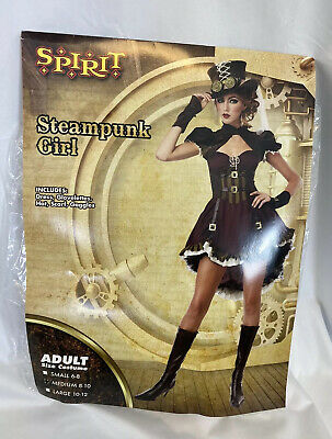 Spirit Halloween Steampunk Girl Women's Costume Adult Size Medium (8-10) Cosplay