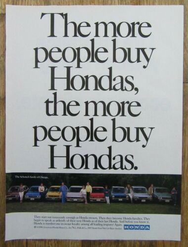1986 HONDA MOTOR COMPANY Generation of Family Honda Owners Magazine Print Ad