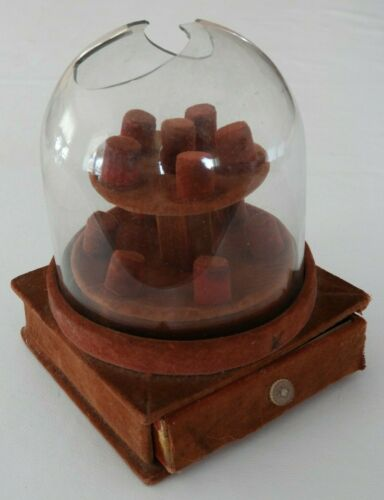 Vintage 2 Tier Thimble Glass Dome Display with Drawer Box Sewing Collectibles