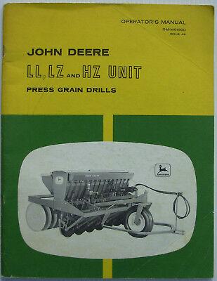 John Deere Ll Lz Hz Unit Press Grain Drill Operator Manual Omm61900