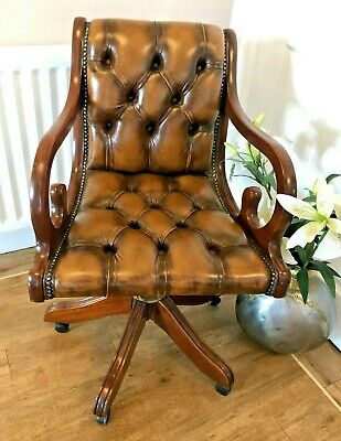 LEATHER BUTTONED CHESTERFIELD Directors Swivel Office Desk Chair Tan