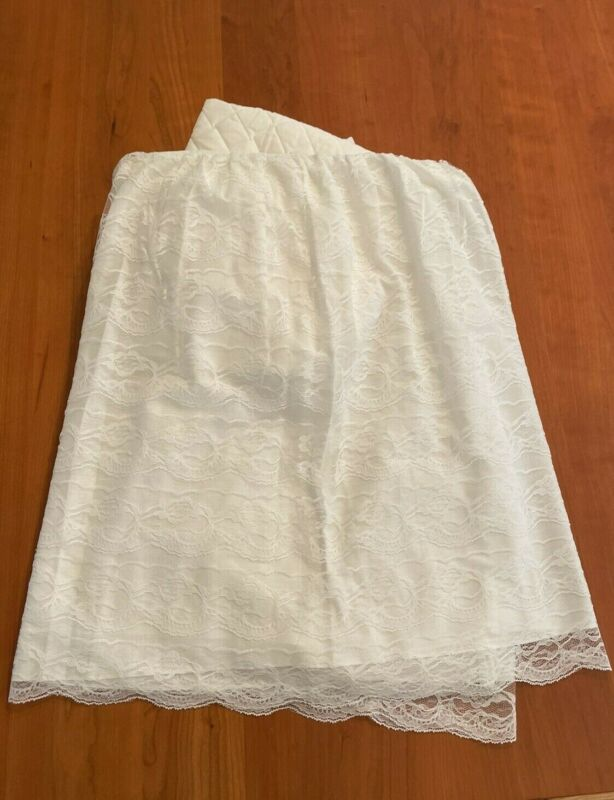 Bassinet Skirt Bedding Cover Hood Bonnet Lace Quilted White Baby - Barely Used