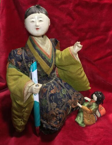 RARE 1830 EDO JAPANESE PALACE DOLL*KARIKURA*POLISHED GOFUN*AUTH*EXC SILK/BROCADE