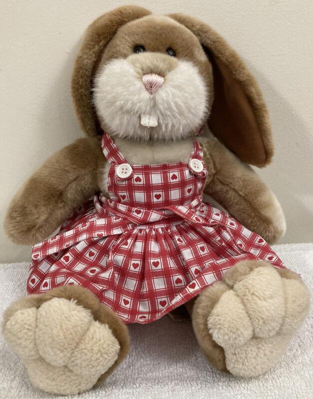 "Build A Bear Retired Bunny Rabbit W/Buck Teeth 17"" Plush W/ Orig Pinafore Dress!"