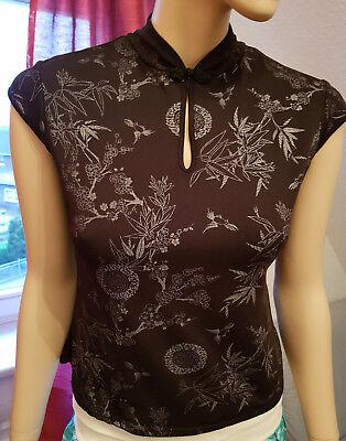 Sexy Clockhouse Bambus Top Shirt Gr. M 38 schwarz silber Kimono Ninja Asia Lotus - Sexy Schwarze Schlüsselloch