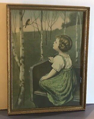 """1925 Borin Chicago """"Spring Song"""" Simon Glucklich Art Deco Frame Print 13"""" x 17"""""""