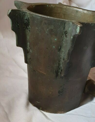Rare Antique Old Mortar And Pestle Brass Copper Heavy Weight 18 Century