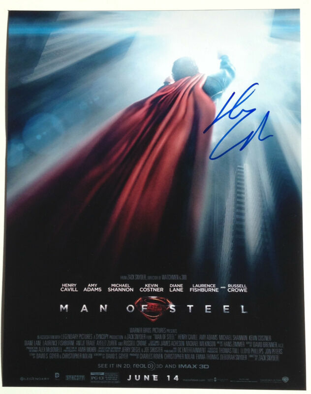 ACTOR HENRY CAVILL SIGNED SUPERMAN MAN OF STEEL 11X14 PHOTO BAS COA IMMORTALS