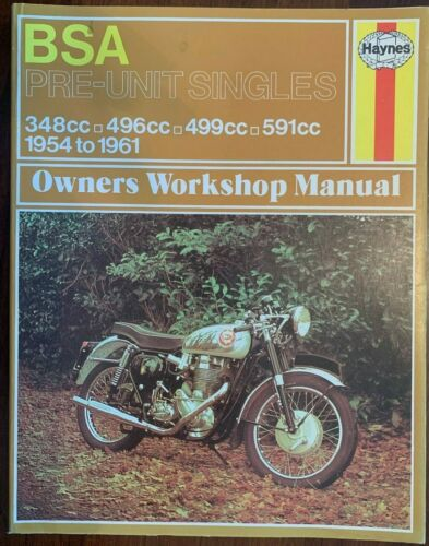 Haynes BSA Pre Unit Singles Workshop Manual 1954-1961