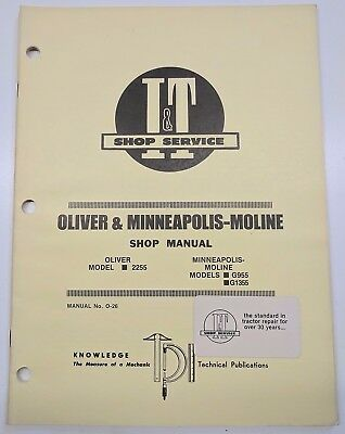 Oliver Minneapolis Moline Manual 2255 G955 G1355 Tractor O-26 Repair Service