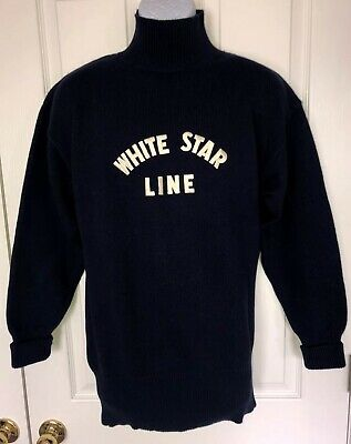 RARE J.Peterman White Star Line Titanic Sweater Size M Excellent Condition!!