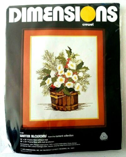 Vintage 1979 Dimensions Winter Blossoms Crewel Embroidery Kit Current Collection
