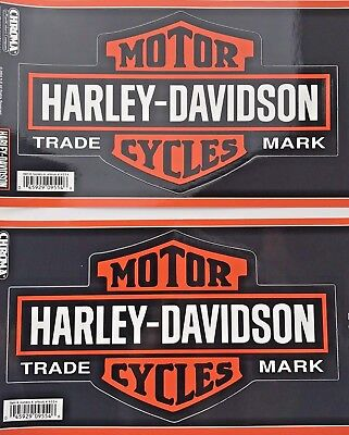 "2 HARLEY DAVIDSON BAR & SHIELD 9"" AUTO STICKER Large STICK ONZ Chroma DECALS NEW"