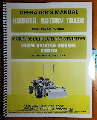 Kubota Fl850 Fl1000 G Rotary Tiller For B5100 B6100 B6200 B7100 B7200 Manual