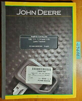 John Deere 108 111 111h 112l Lawn Tractor Parts Catalog Manual Pc1699 1296