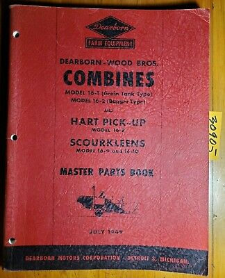 Dearborn Wood Bros 16-1 16-2 Combine Master Parts Book Manual Pa-5406 749